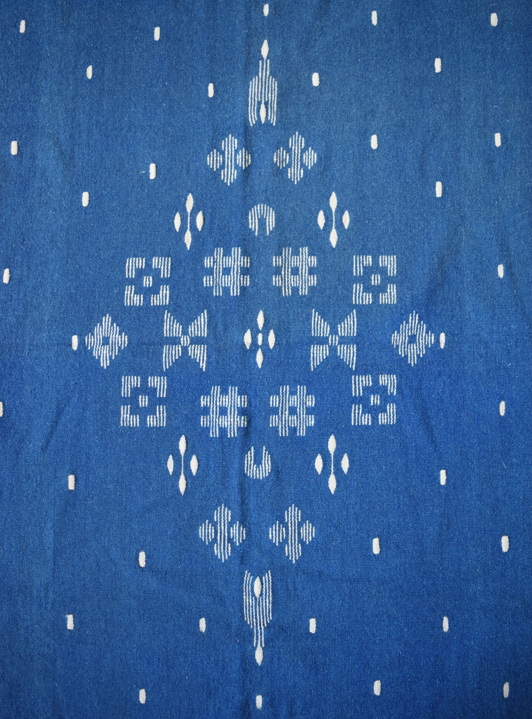 Vintage Hand loomed Moroccan Indigo Throw Rug