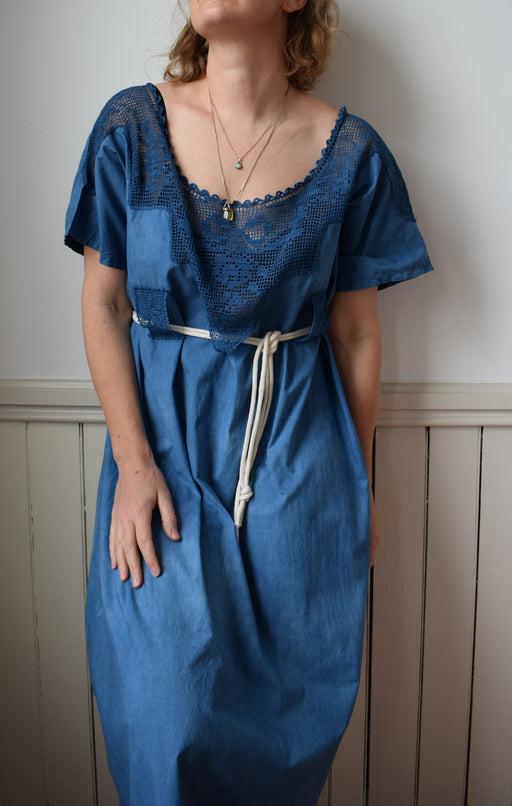 Indigo Dyed Antique Cotton and Crochet Dress | L/XL