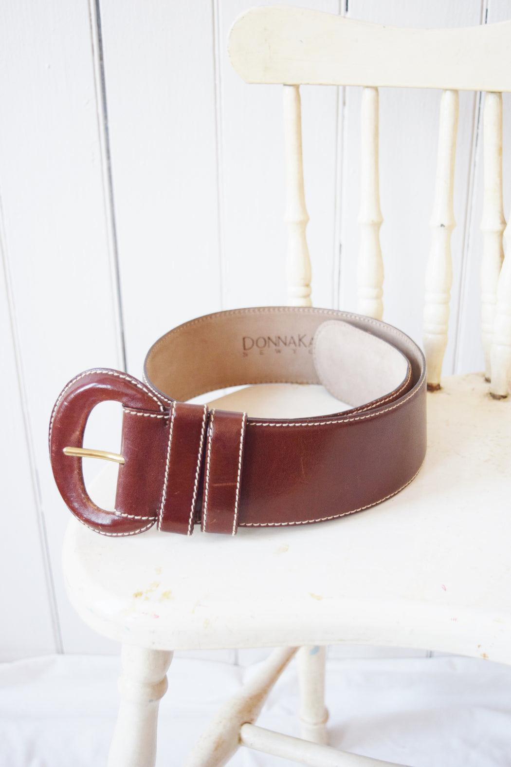 "Wide Leather Belt by Donna Karan New York | 25-30"" W"