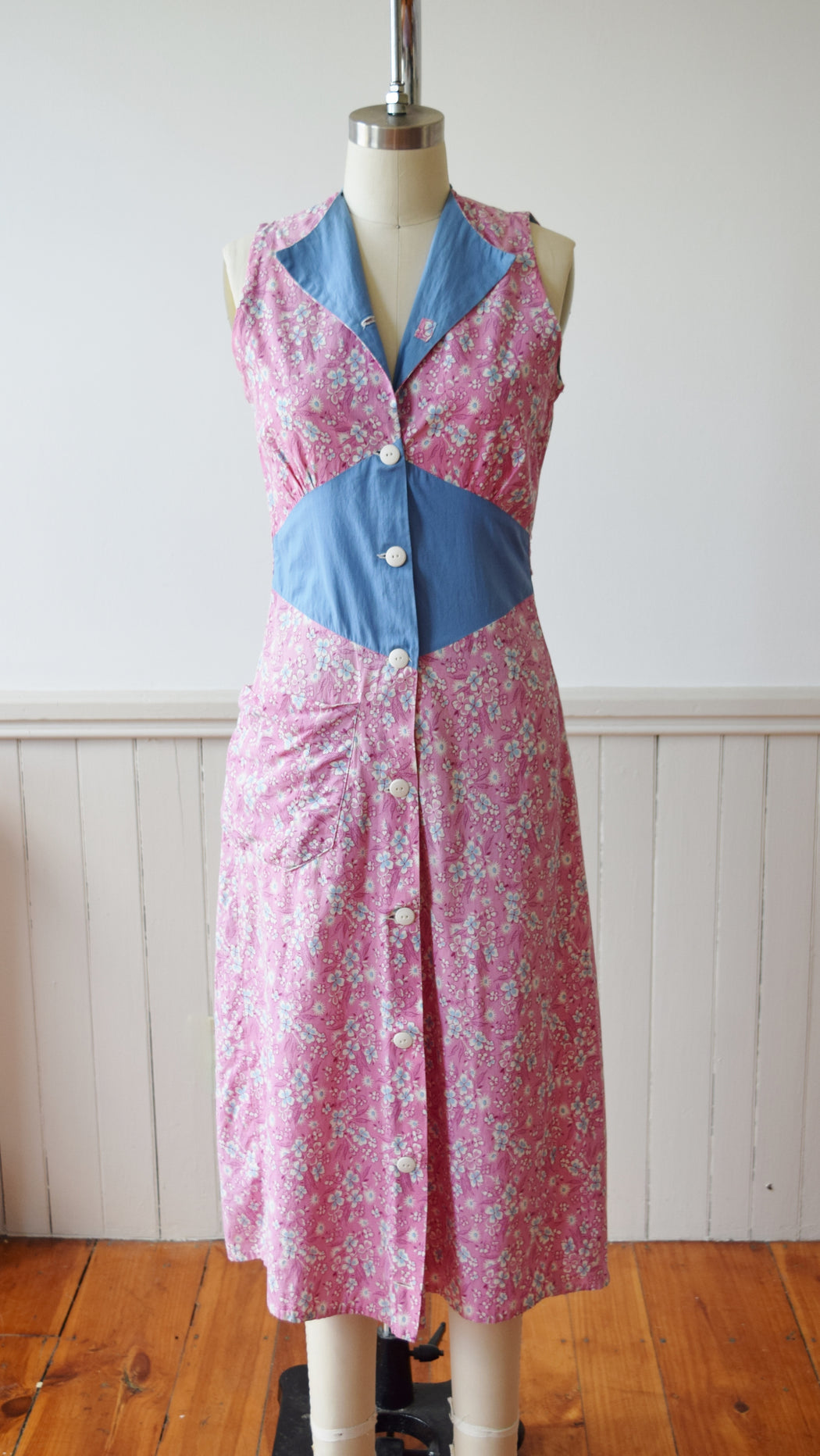 Feedsack Chore Dress | 1930s | XS/S