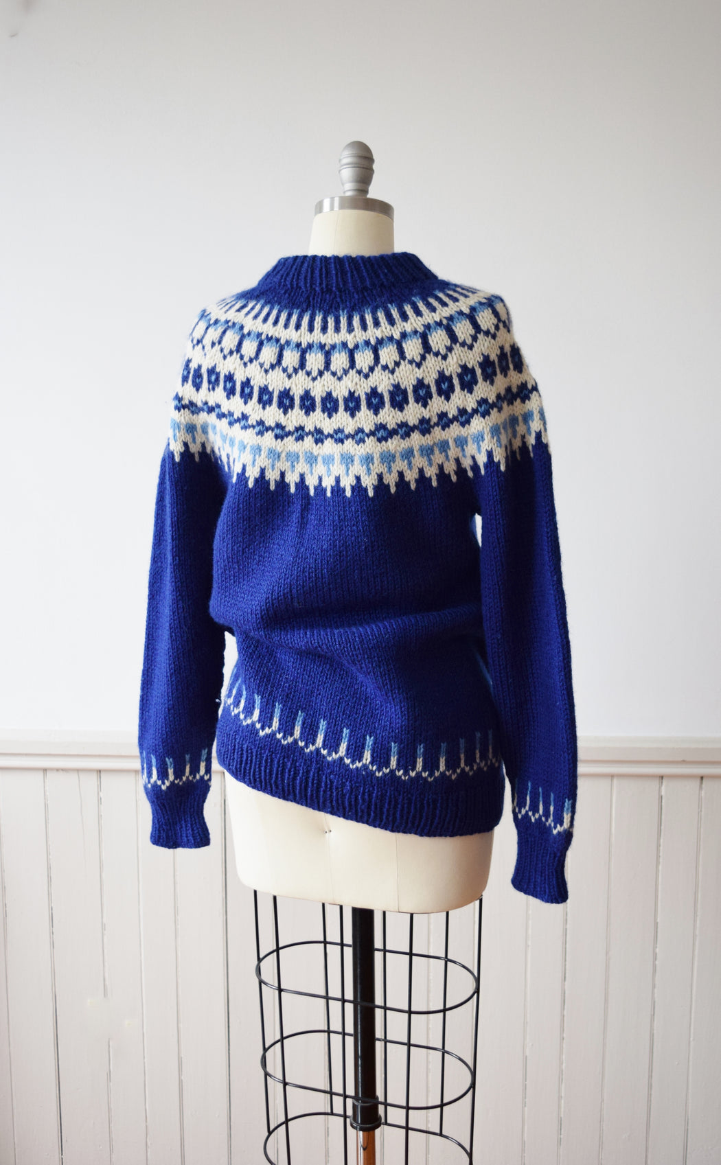 Chunky Blue Fair Isle Knit Sweater | 1980s Hand Knit Pullover | M
