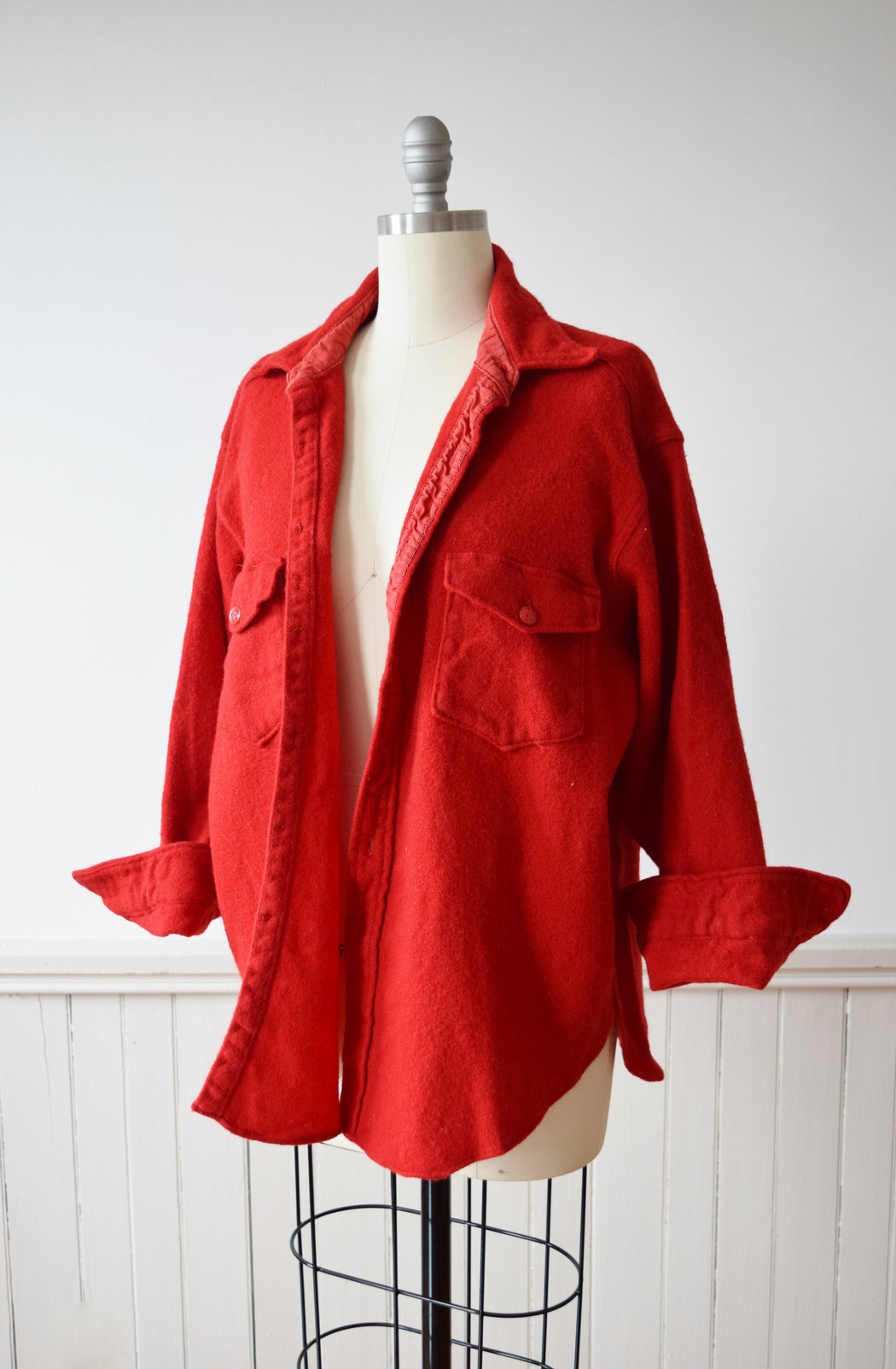 1960s True Red Woolrich Wool Chore Shirt | Overshirt | M-L