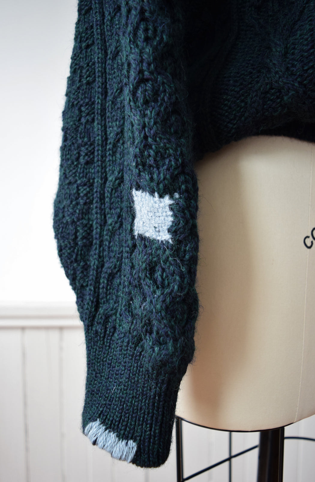 Hand Darned Irish Wool Cable Knit in Forest Green | M/L