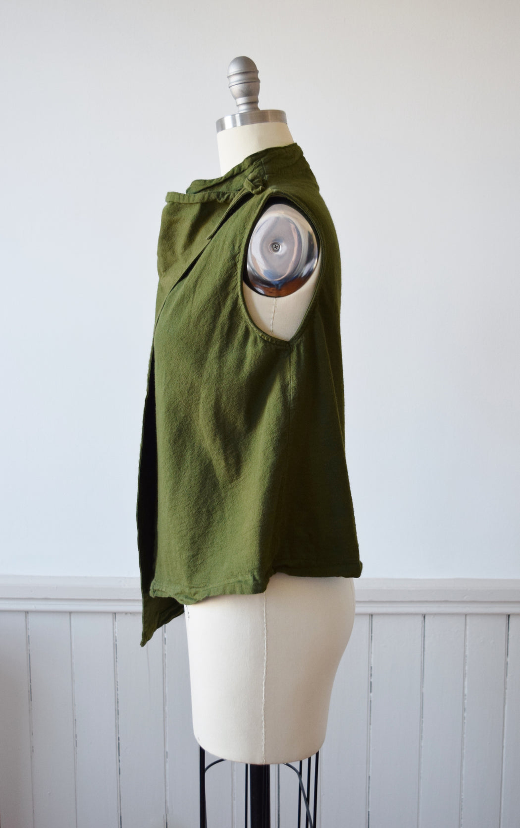 Fern Green Linen Wrap Top | M