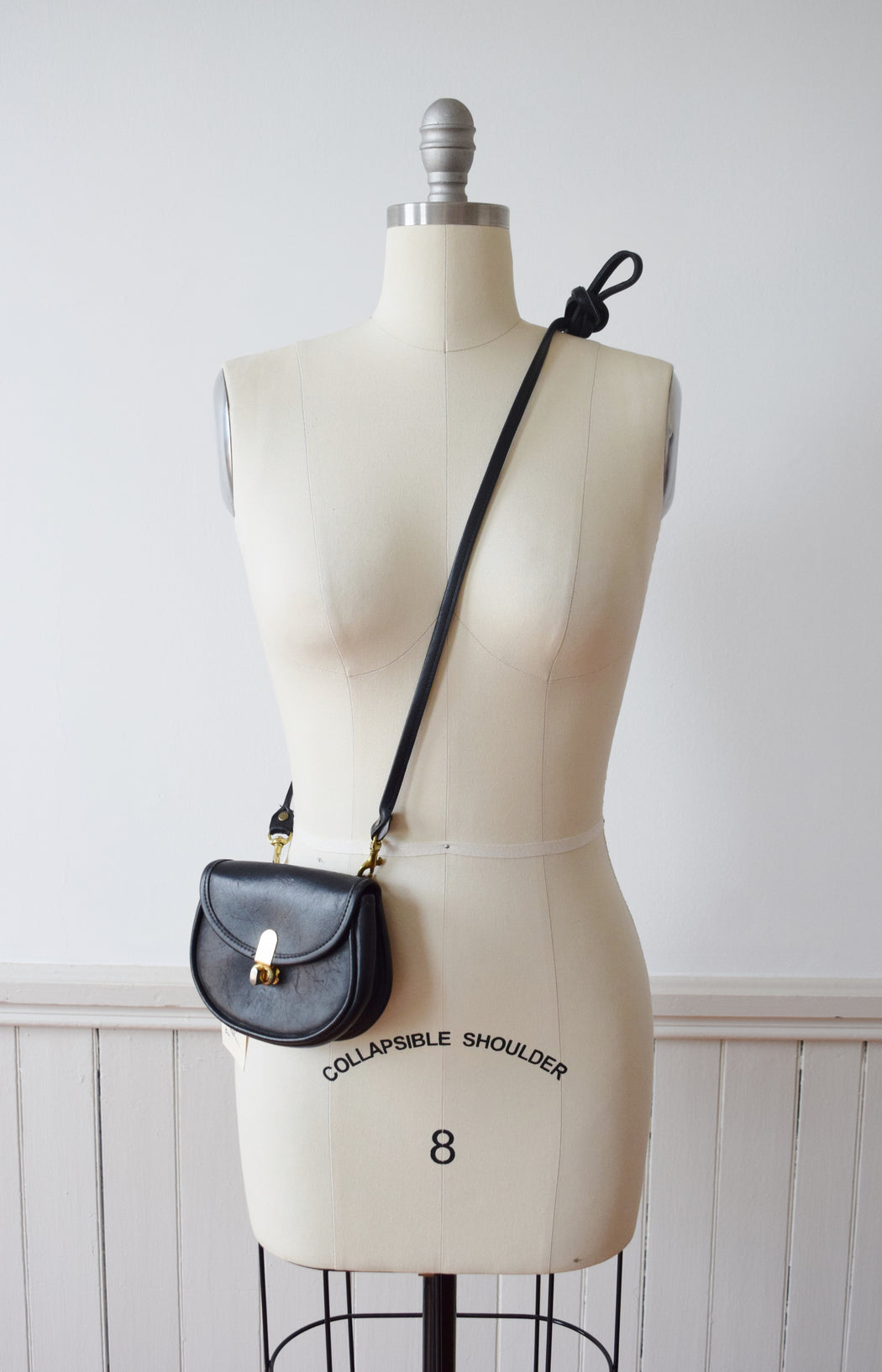 Vintage Mini Black Leather Crossbody or Belt Bag