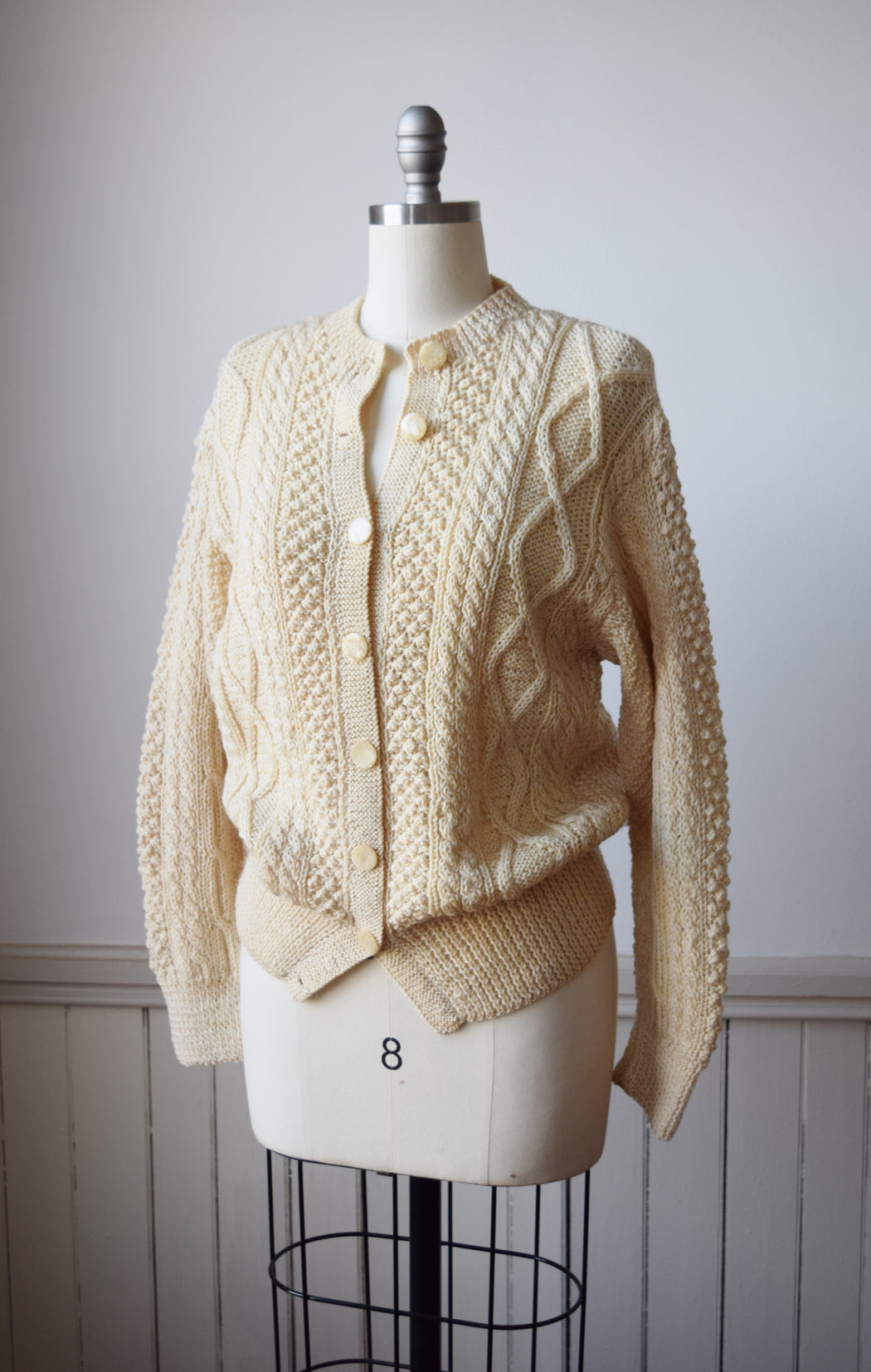 1960s Cable Knit Fisherman's Sweater / Cardigan | M