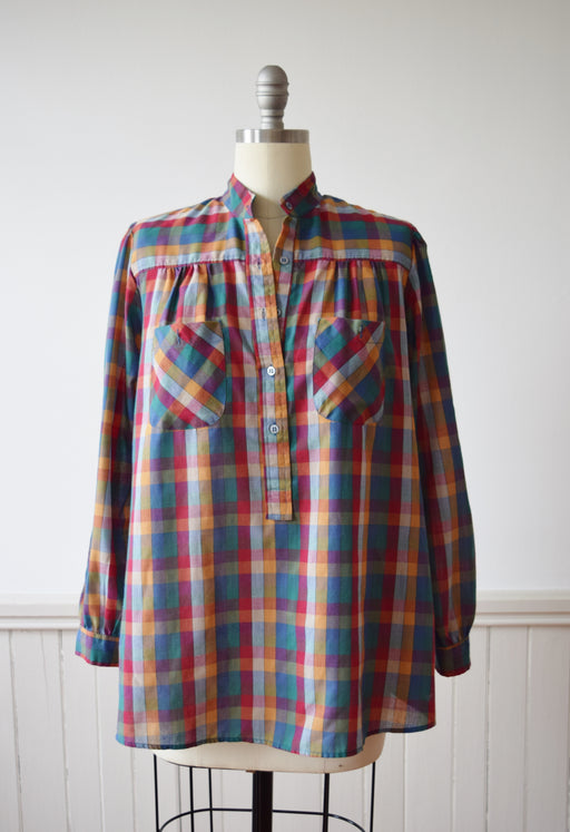 Multi-Colored Gingham Top | 1970s | M