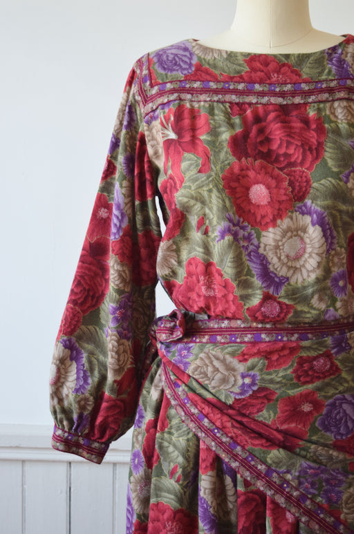 Wool/Silk Blend Floral Dress by Albert Nipon | 1980s | S/M