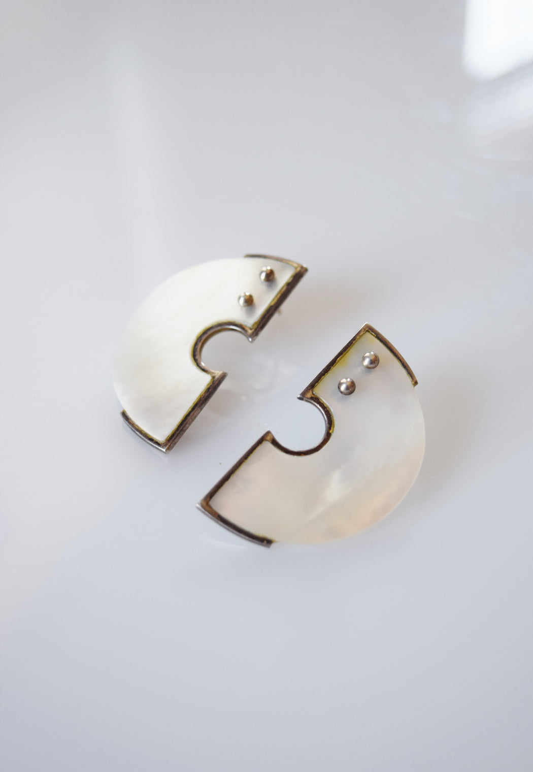 Modernist Silver and Mother of Pearl Earrings