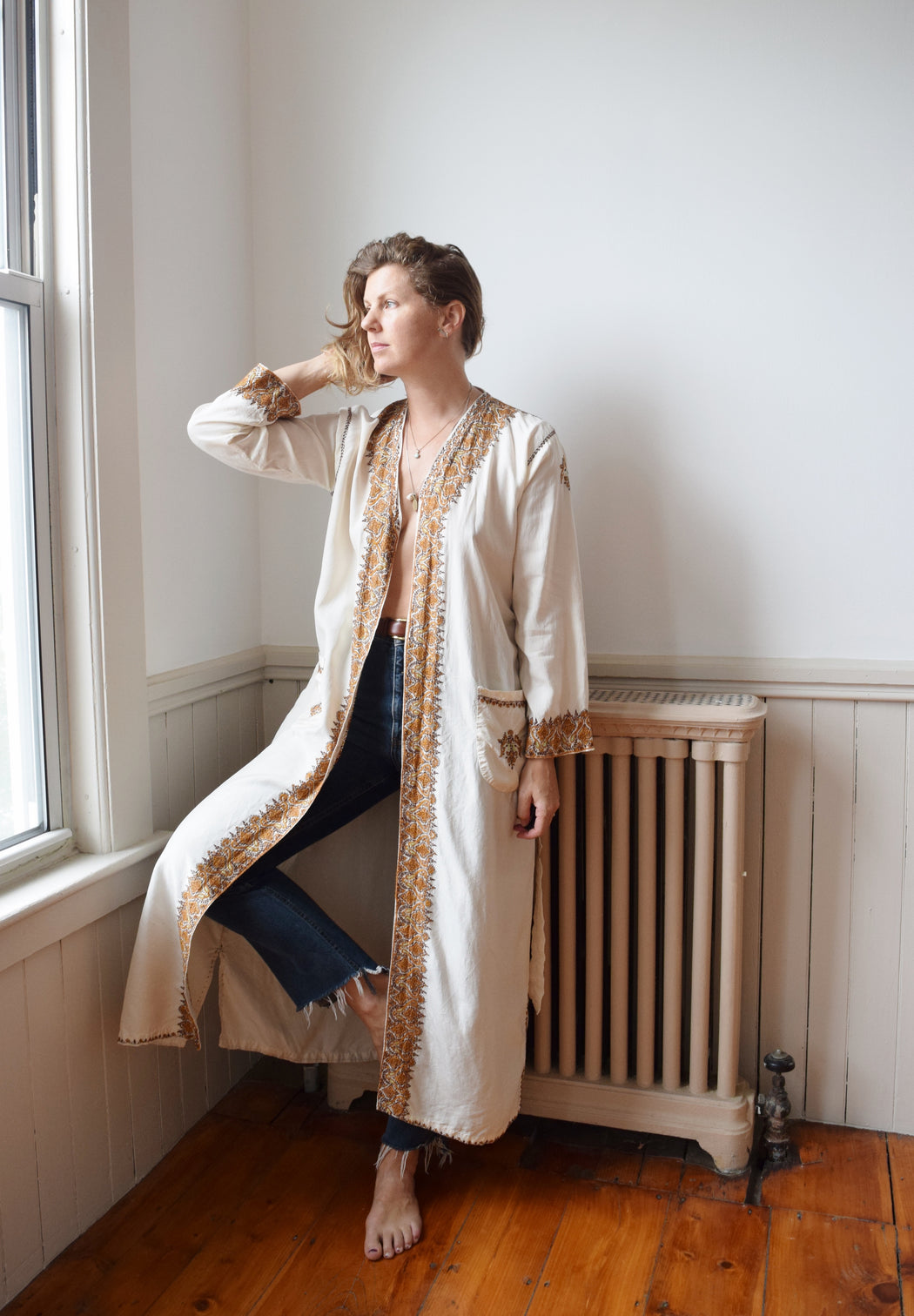 Mid-Century Kashmiri Embroidered Pongee Silk Robe | Wrapper