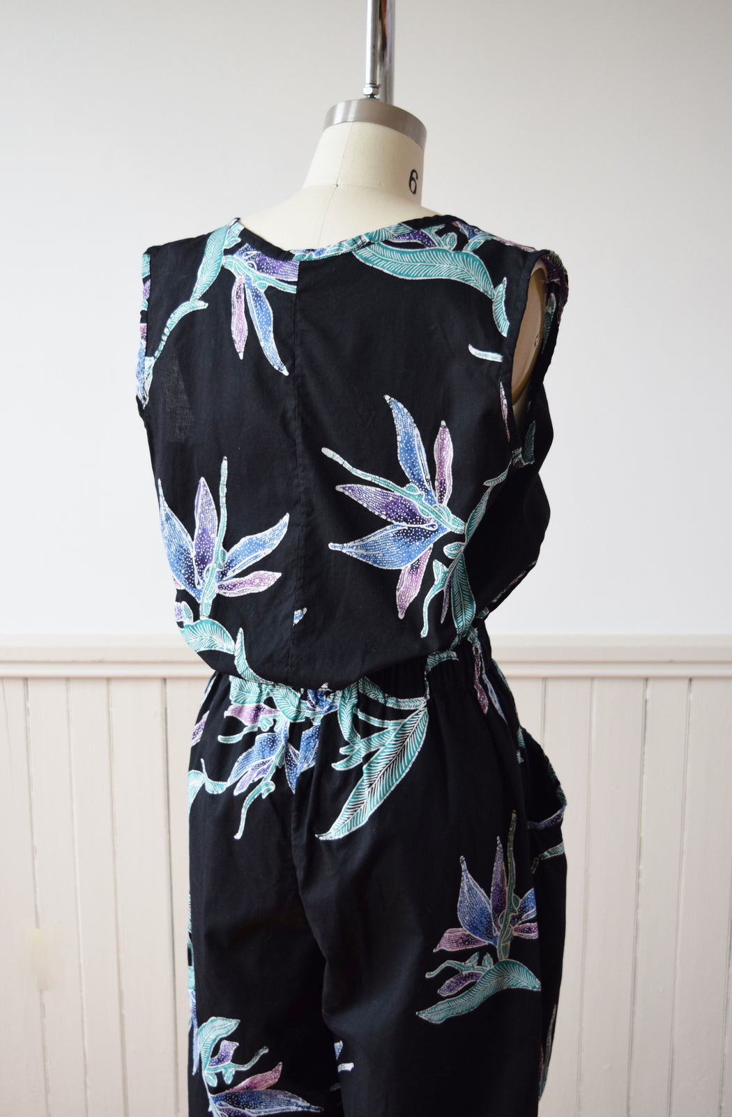 1980s Cotton Batik Jumpsuit | Dark Floral Print | M-L