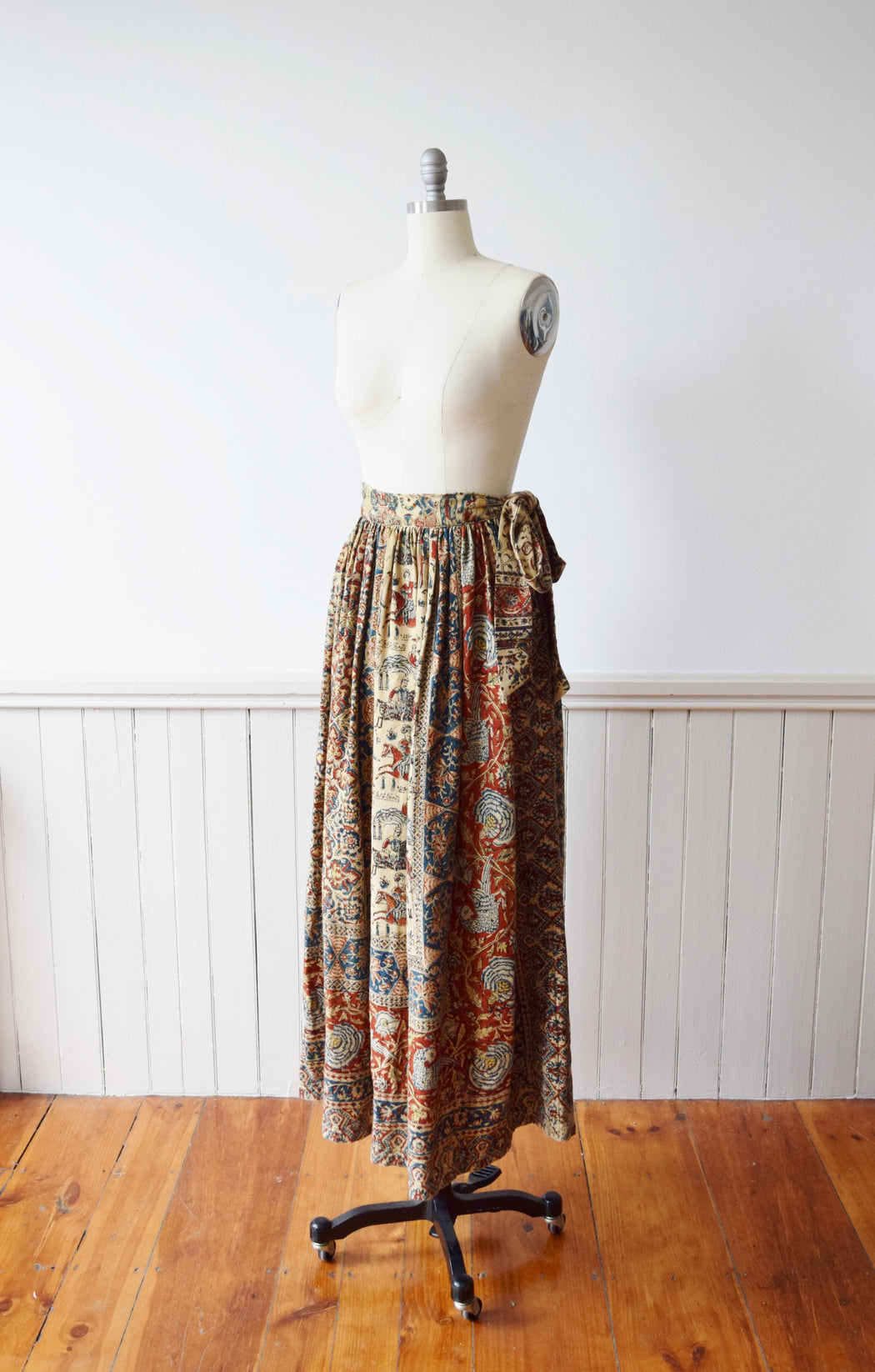 1960s Rustic Indian Block Print Maxi Skirt | S
