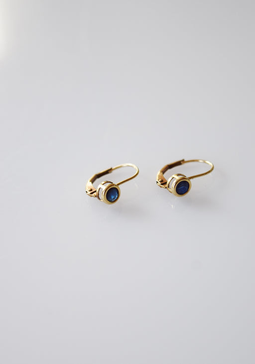 Vintage 10kt Gold and Sapphire Lever Back Earrings