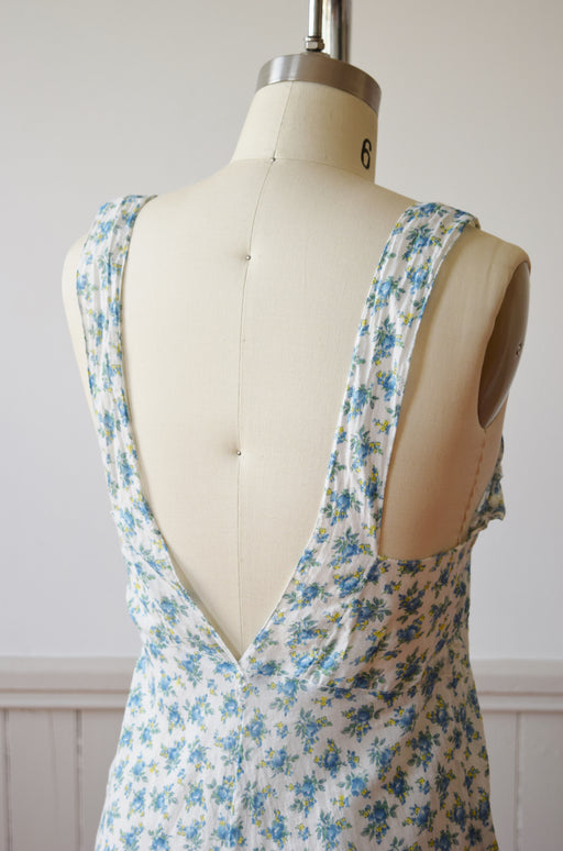 Floral Lounging Romper with Deep V Back | 1930s | M/L