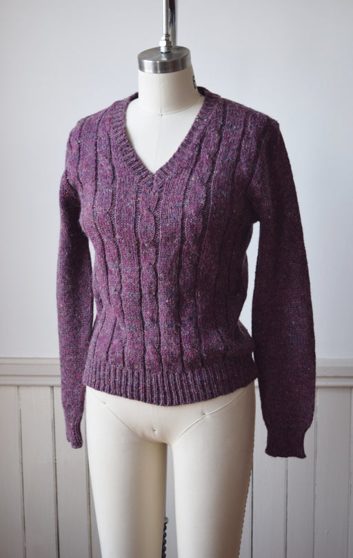 Purple Cableknit V-neck Sweater by Millay | S