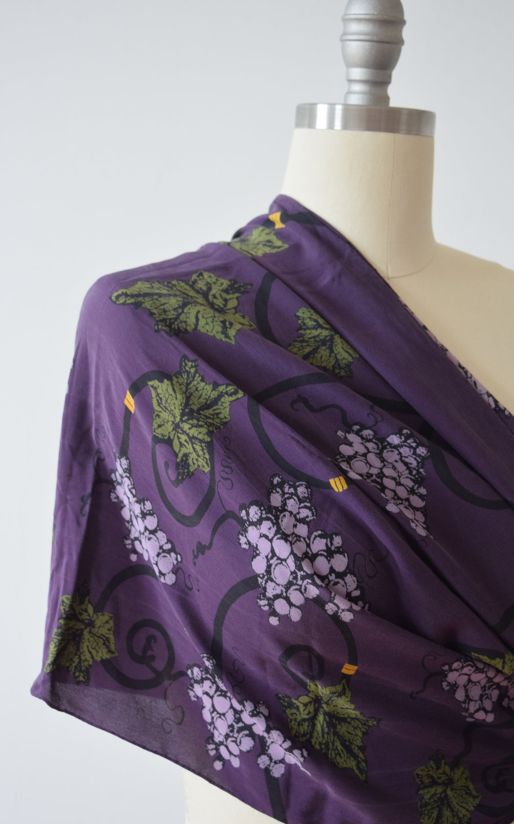 Vintage Grape Trellis Silk Scarf