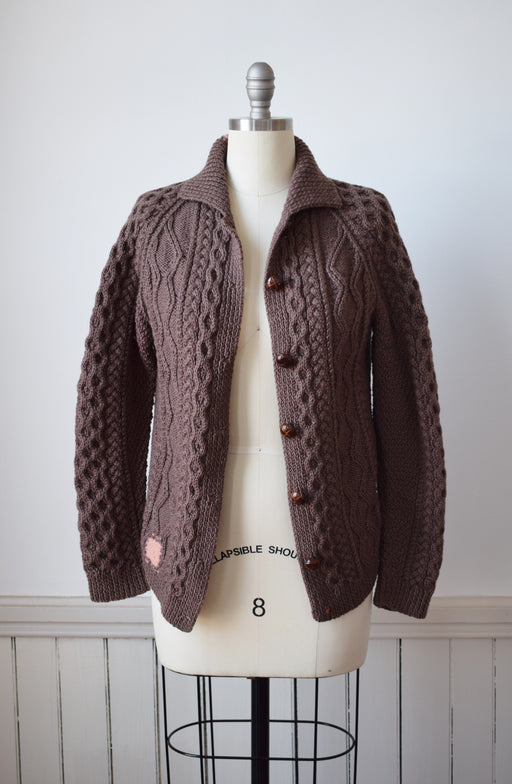 Mocha Brown Wool Cable Knit Cardigan | M