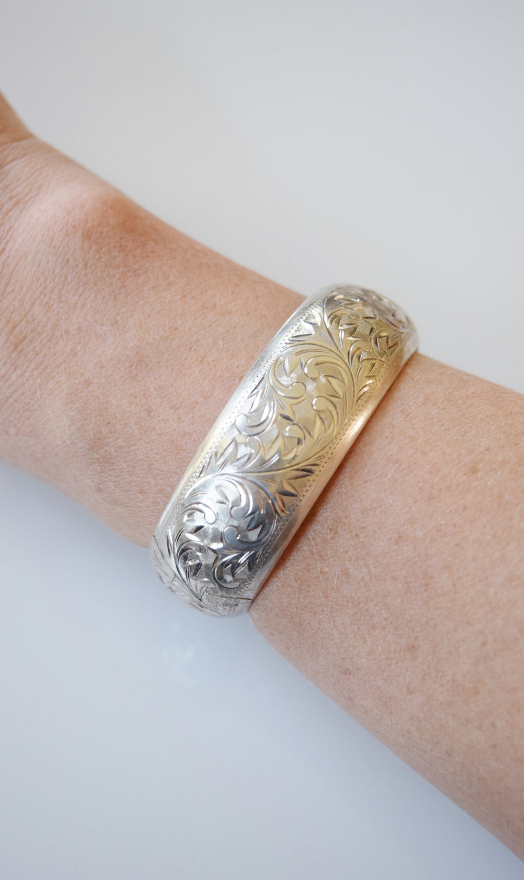 Etched Victorian Revival Sterling Silver Bangle