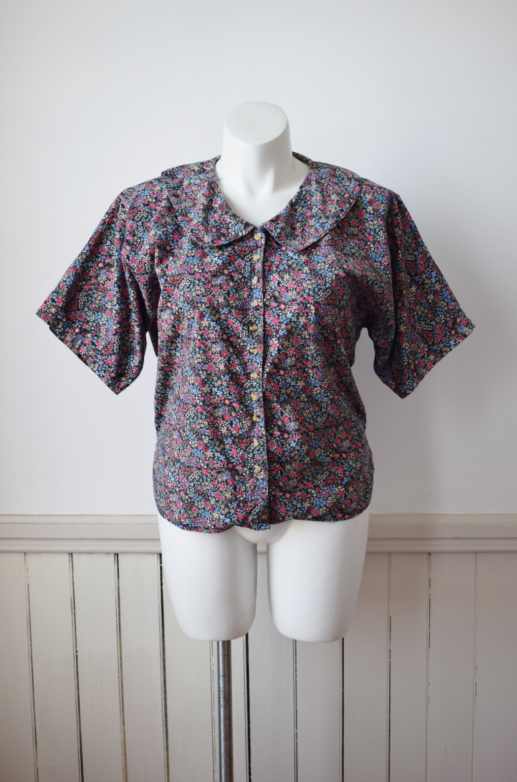 Micro Floral Print Cotton Top | L/XL