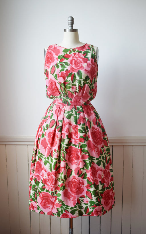 1950s Silk Rose Print Dress | M