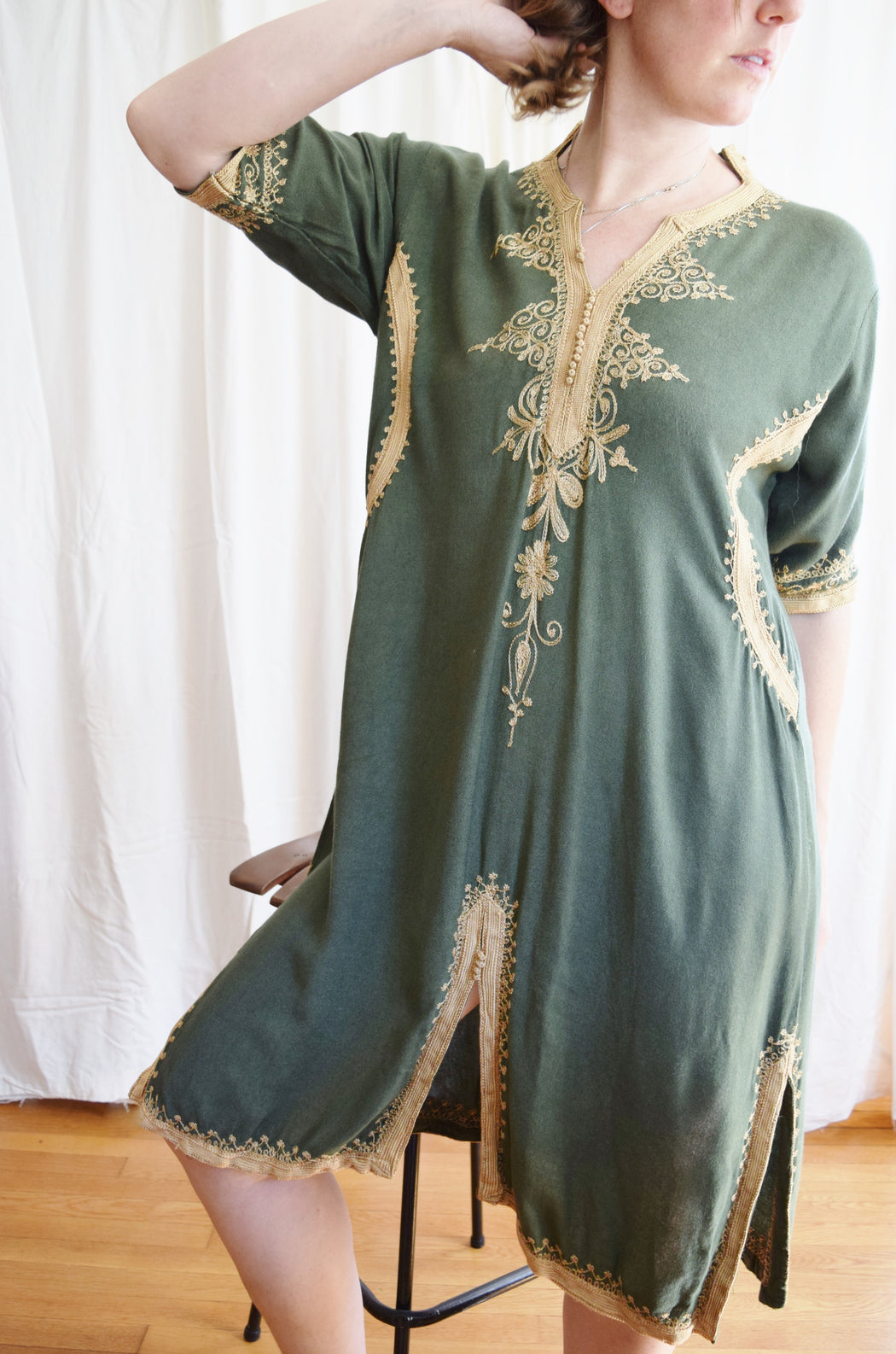Vintage Moroccan-style Embroidered Tunic Dress
