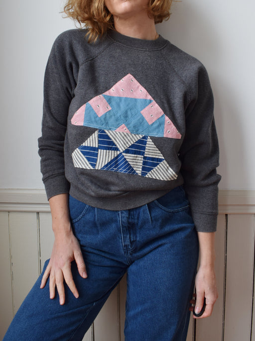 Vintage Raglan with Quilt Square Patch | Dark Grey | S