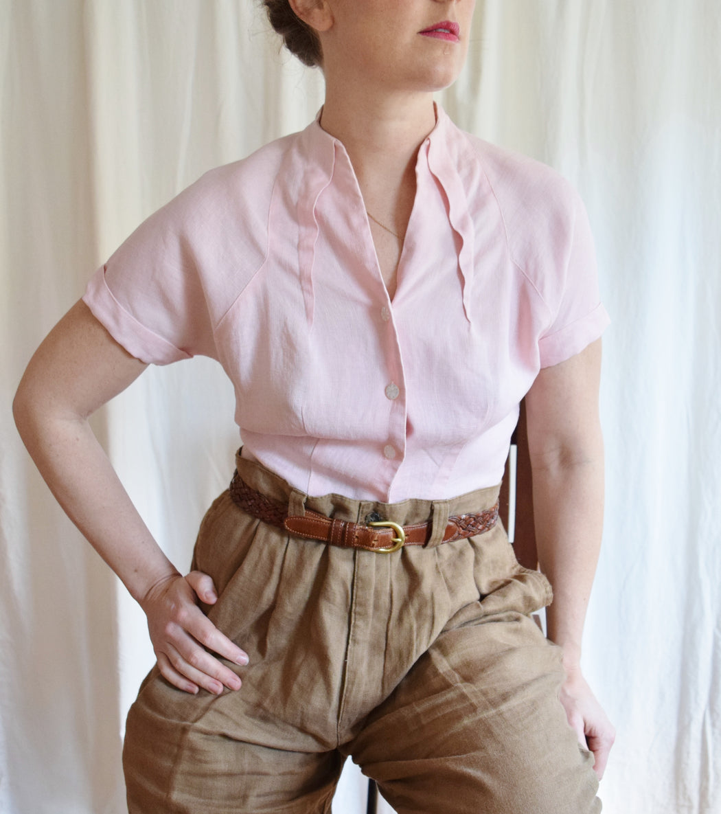 1950s Pink Linen Tailored Blouse