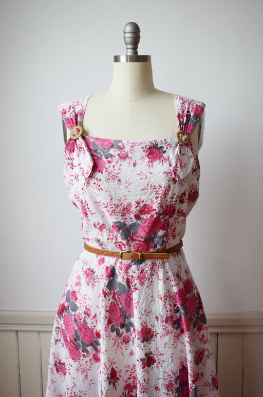 1950s Cotton Floral Print Sun Dress | M/L