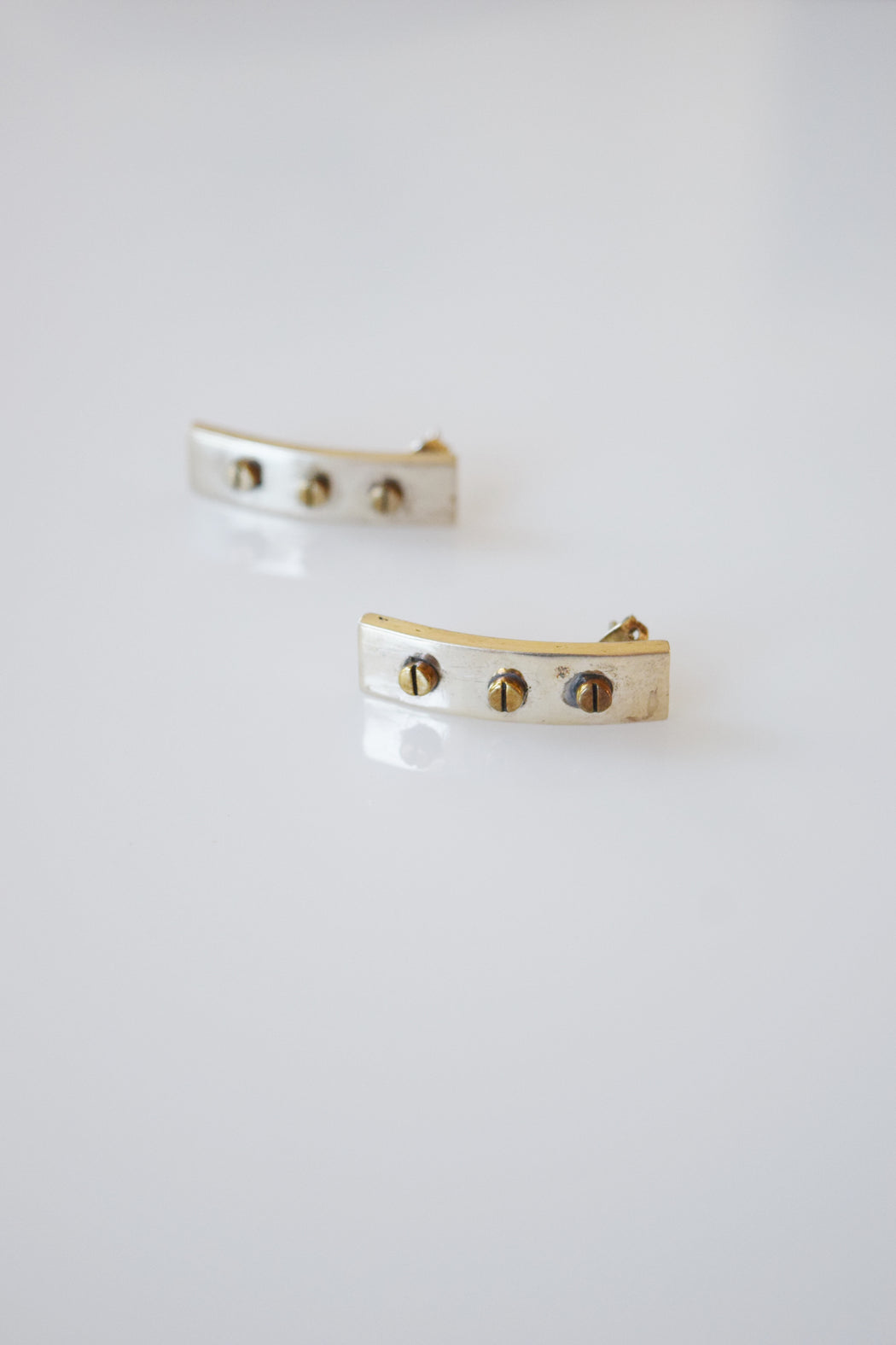 Silver and Brass Rivets Earrings