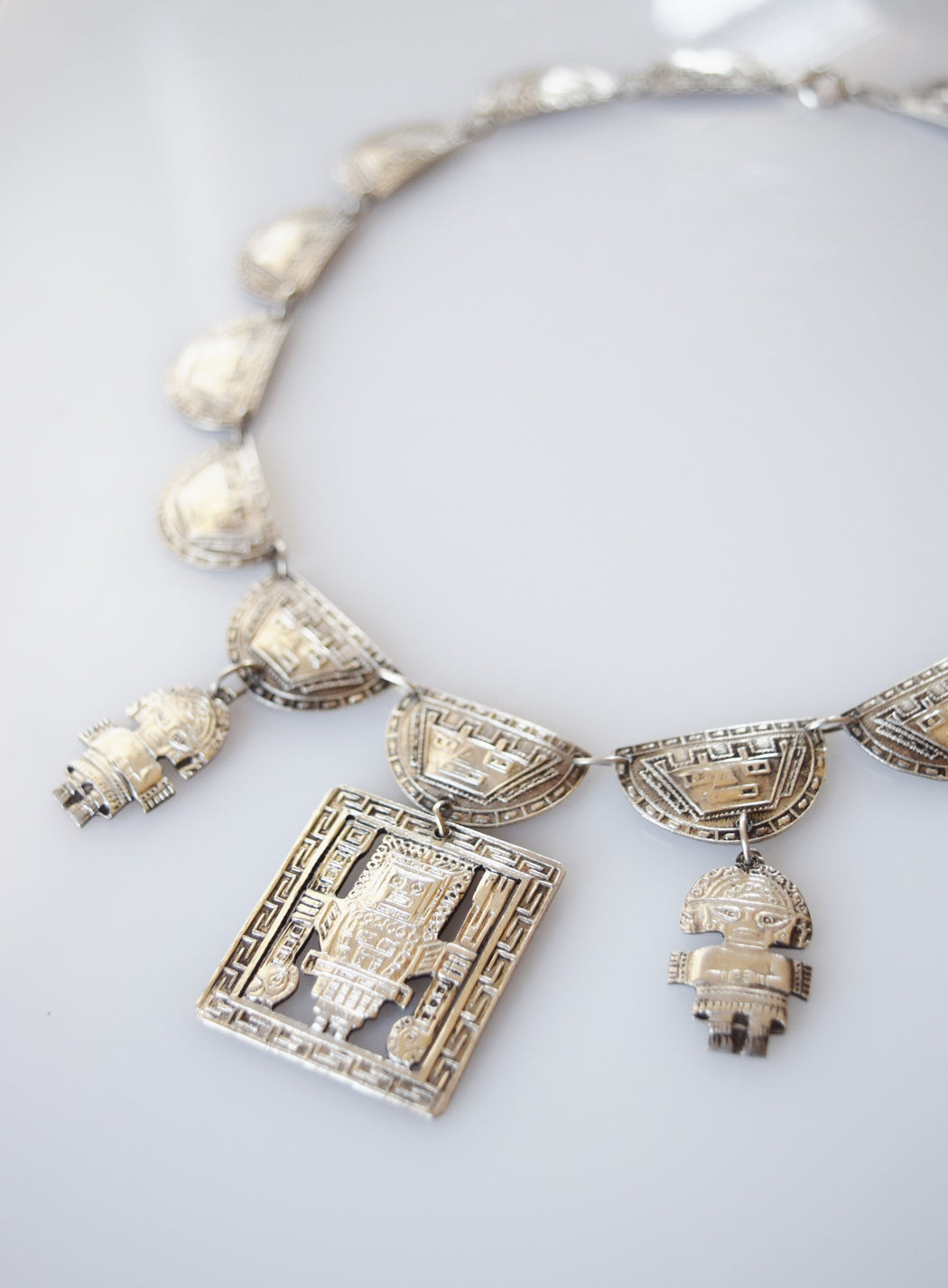 Peruvian Figural Silver Necklace