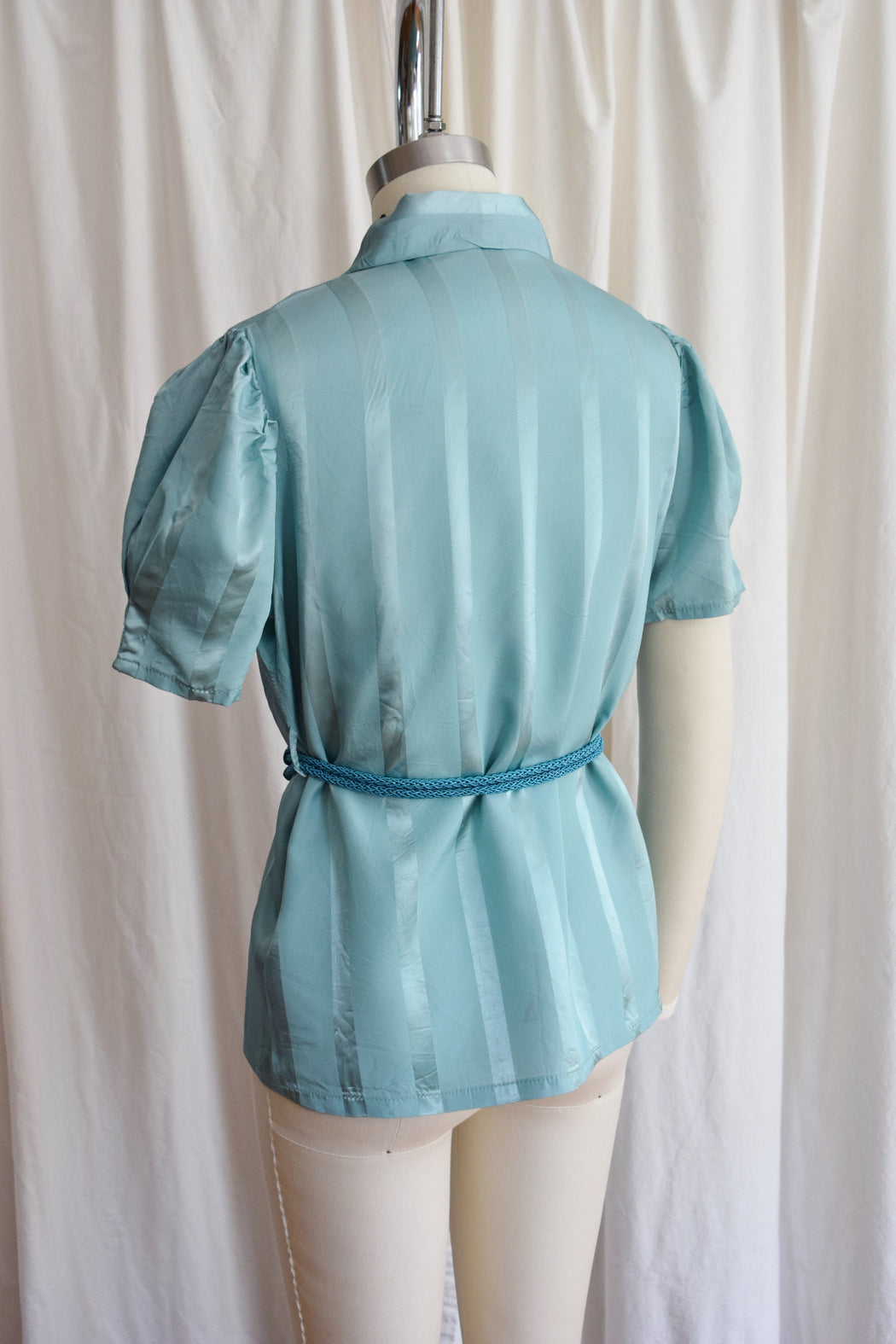1940s Striped Teal Wrap Top / Loungewear Blouse with Belt