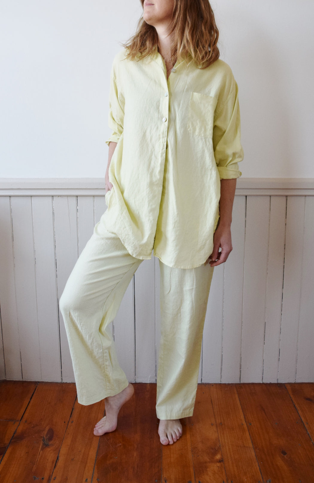 Chartreuse Linen Art Teacher on Spring Break Pant Set | M/L