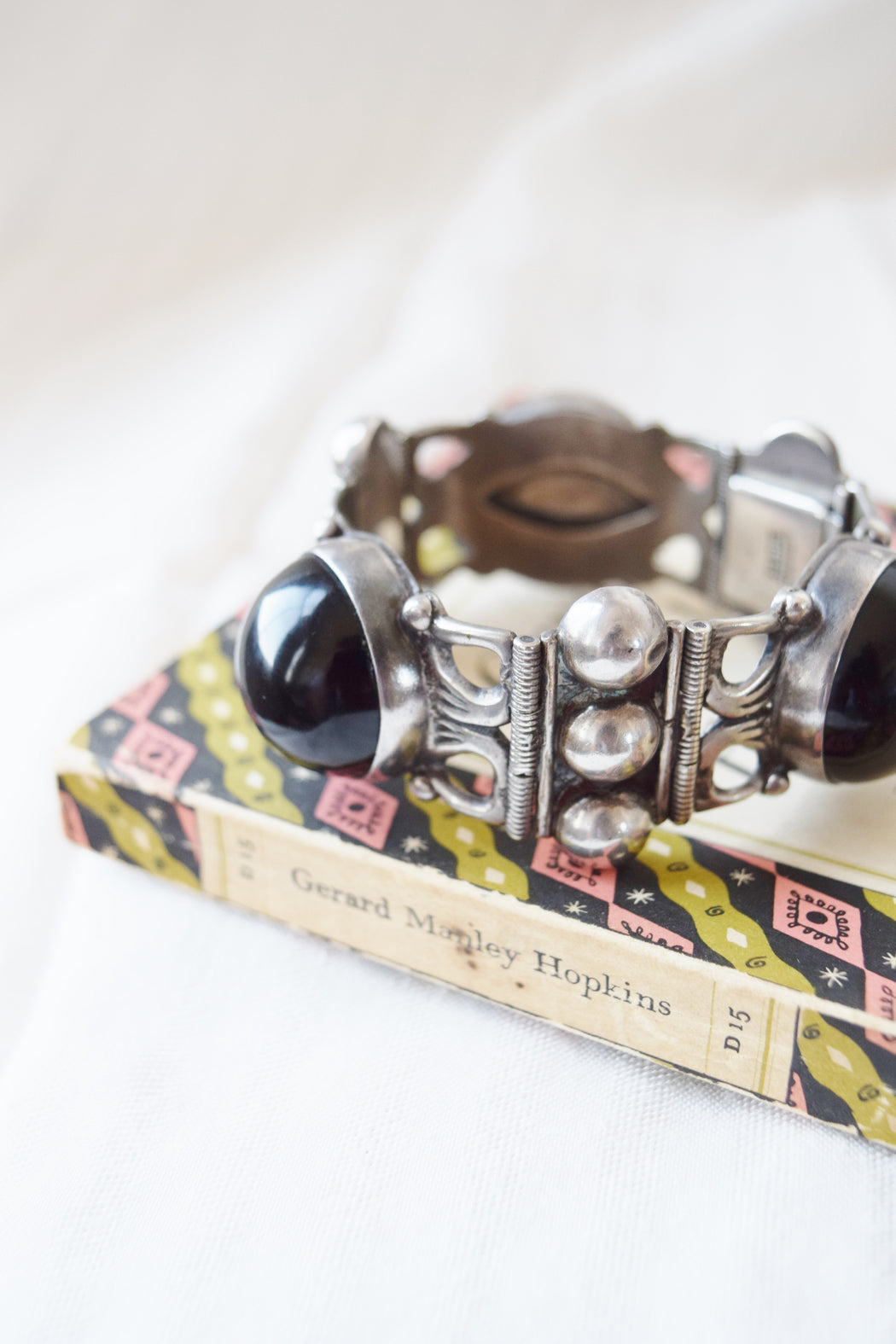 Large Mexican Sterling + Onyx Bracelet | 1970s