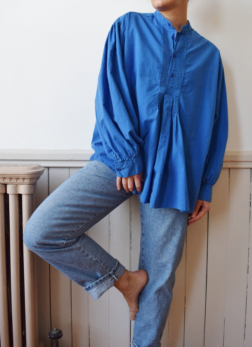 Vintage Soft Cotton Poet's Blouse | 1990s | M-L
