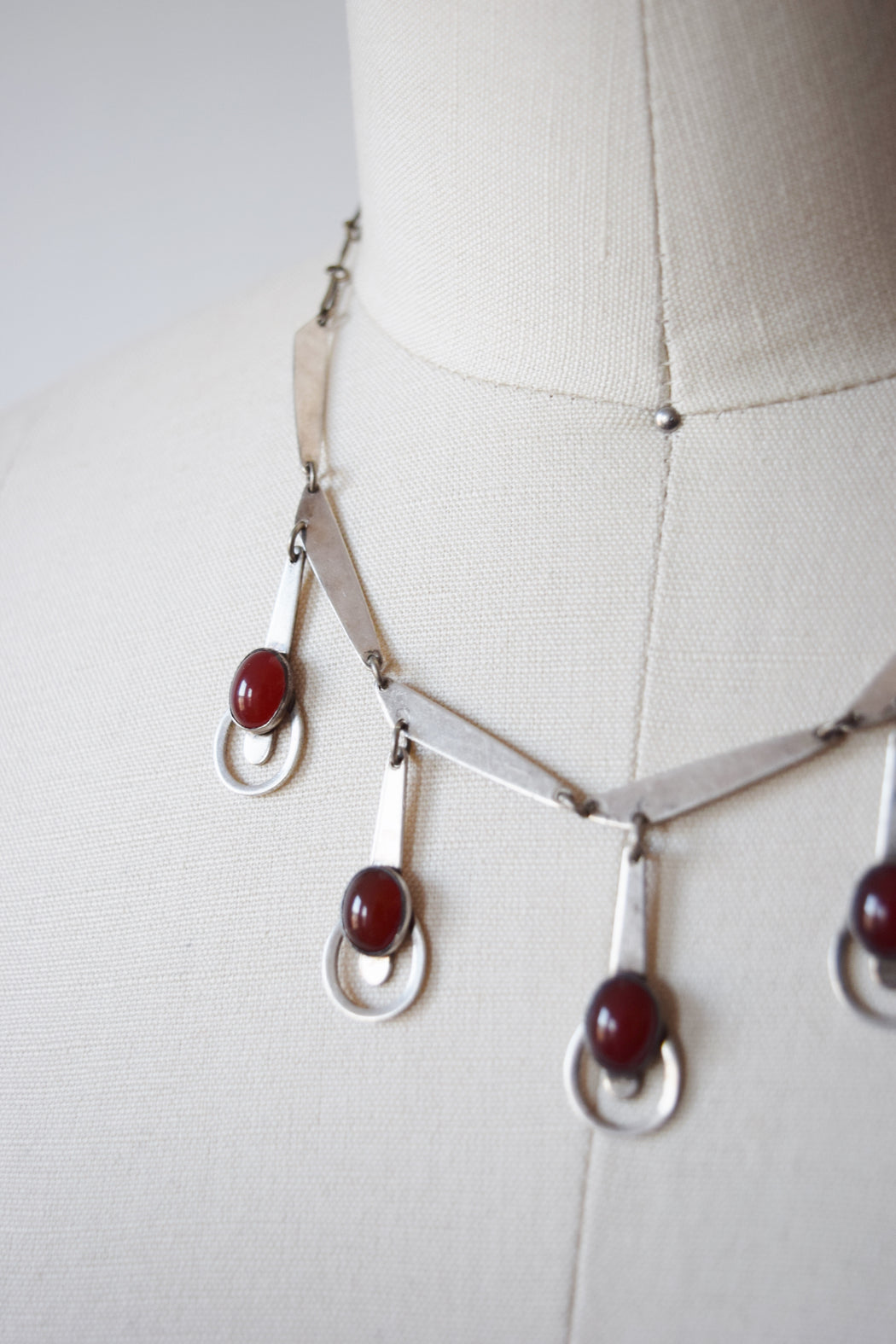 Silver and Carnelian Modernist Necklace