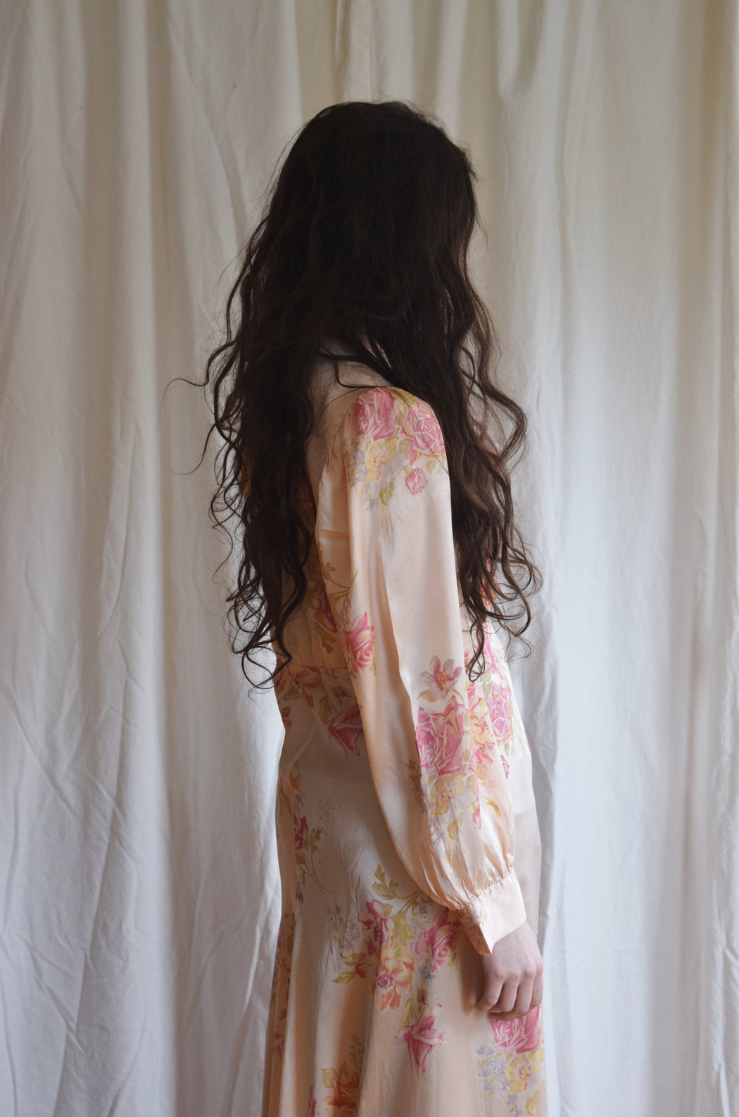 1940s Floral Satin Duster / Dressing Gown