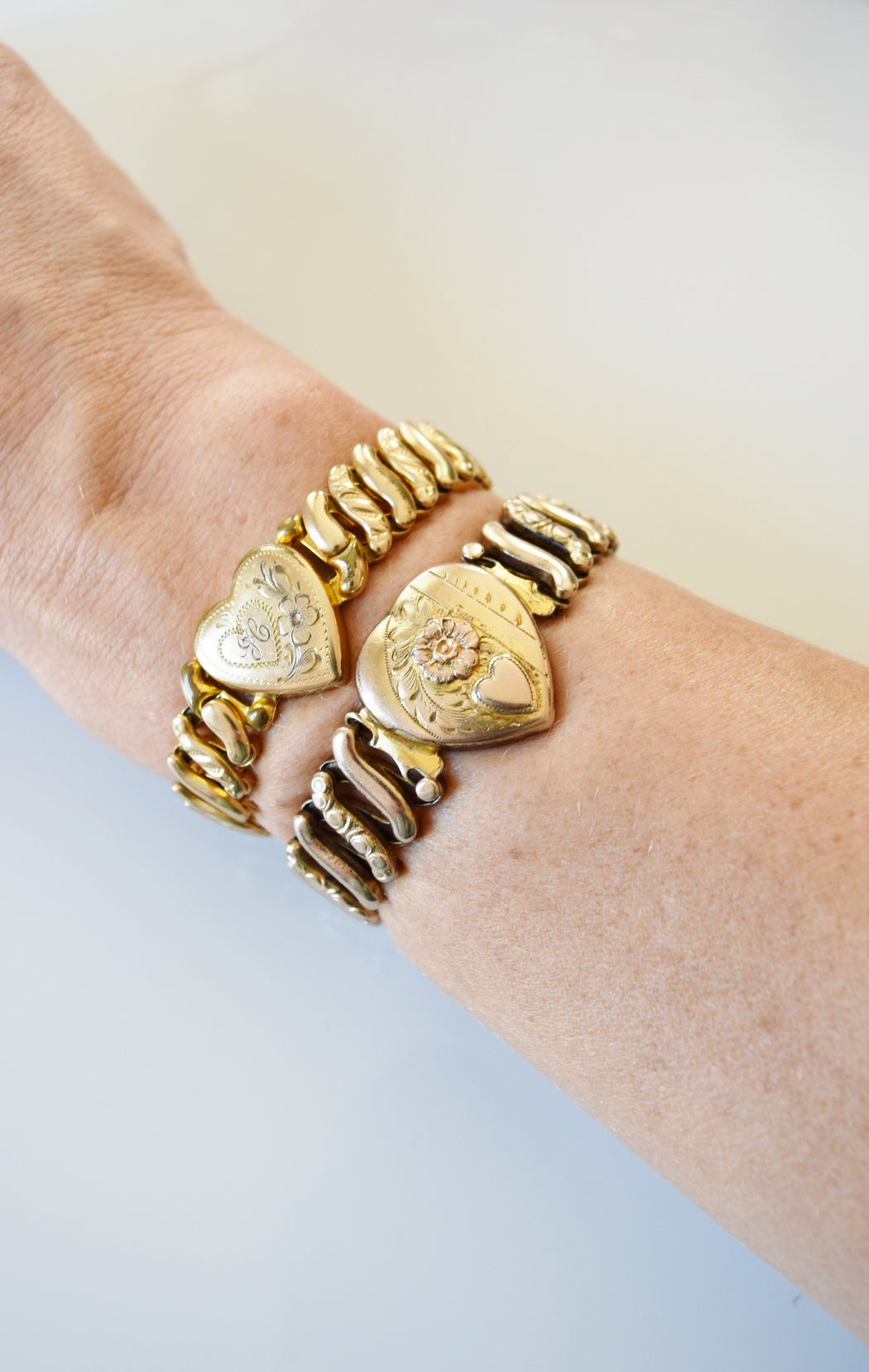 "Vintage Sweetheart Expansion Bracelet with Engraved Heart Charm | ""Ann Love Eddie"""