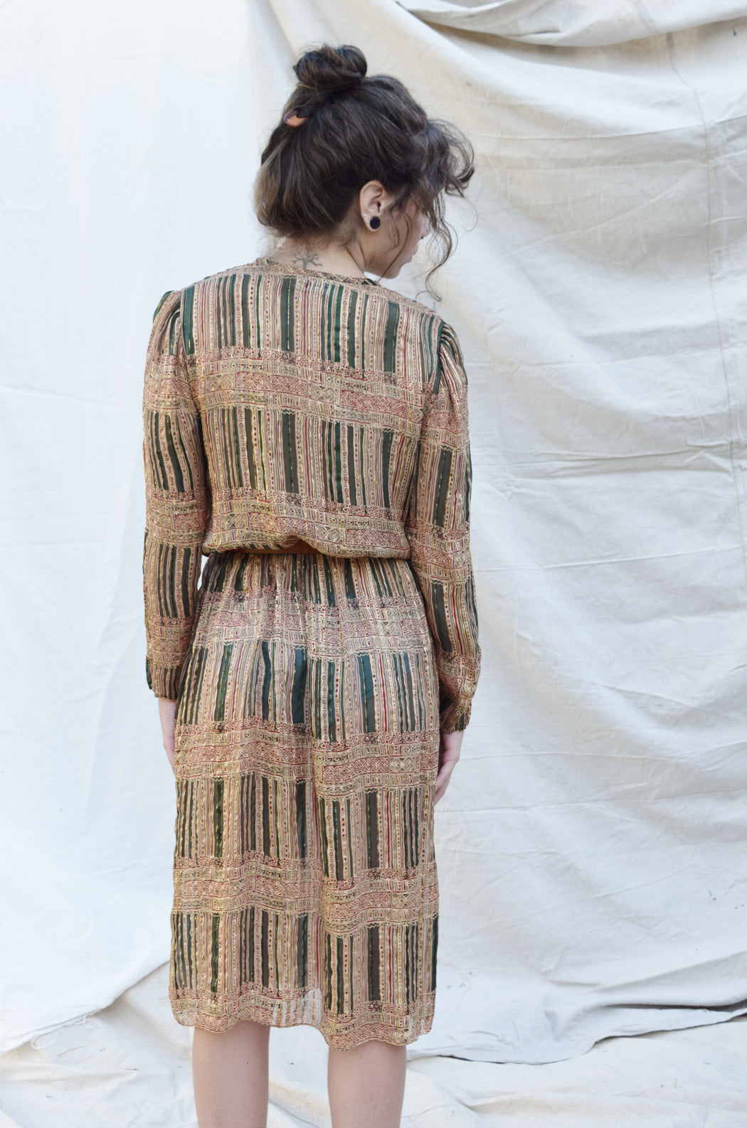 Silk + Gold Dress by Adrianna Papell | 1980s | S/M