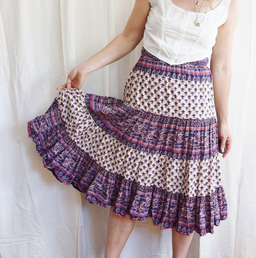 1970s Indian Block Print Midi Skirt