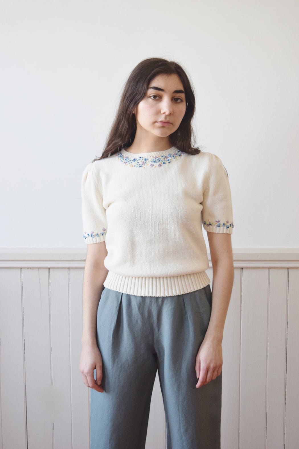 1930s Style Embroidered Cotton  Knit Top | 1980s