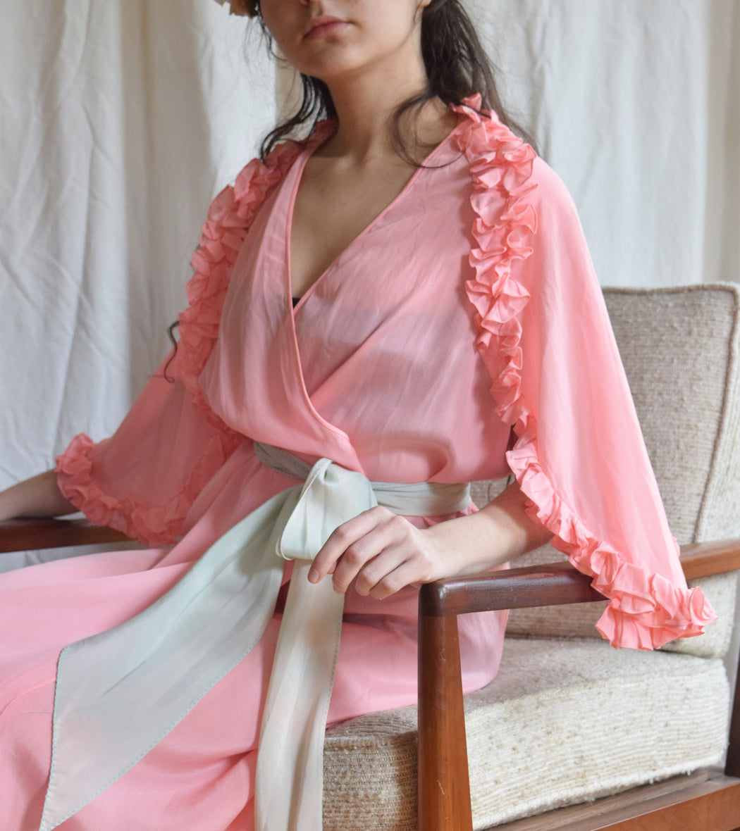 1930s Pink Ruffled Wrap Dress / Dressing Gown with Blue Sash