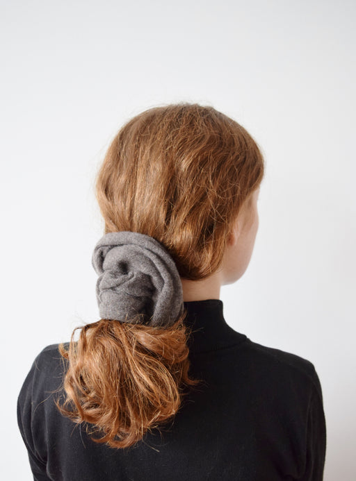 XLarge Cashmere Hair Tie in Fawn | Upcycled Scrunchie