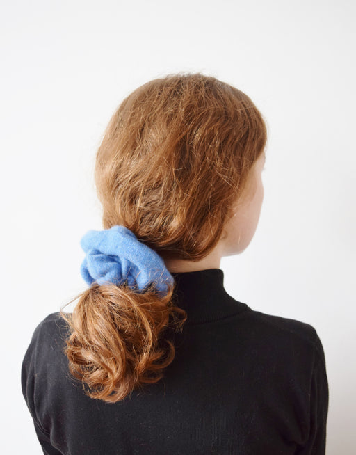 Large Cashmere Hair Tie in Chambray Blue | Upcycled Scrunchie