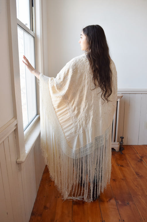 Large Antique Silk Embroidered Piano Shawl with Long Fringe