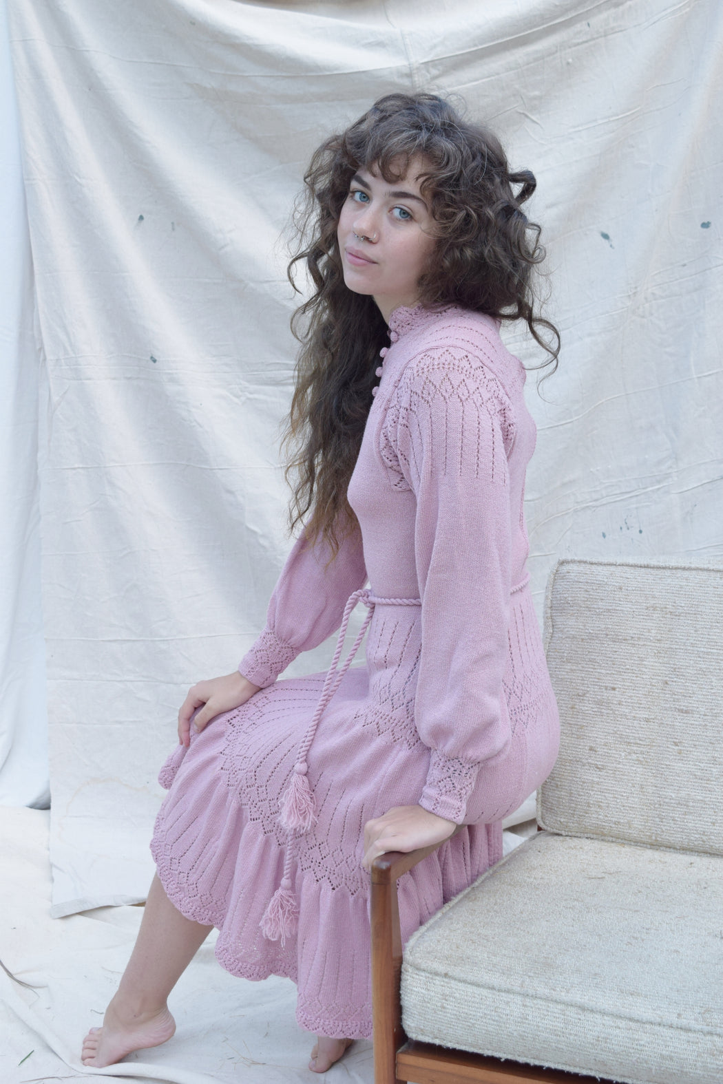 1970s Mauve Knit Dress | S/M