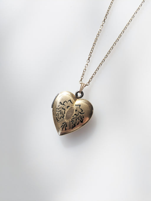 Antique 12kt Gold Heart-Shaped Locket | Enameled Engraving