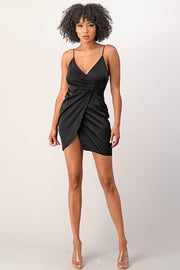 Evenuel Satin Button Detail mini Dress