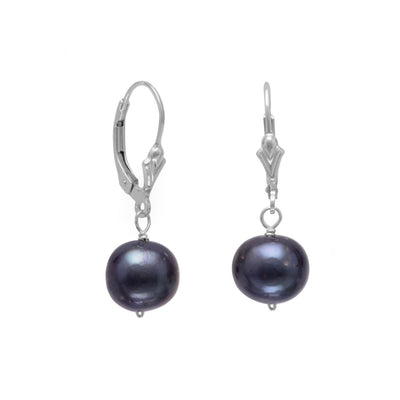 9mm Peacock Cultured Freshwater Pearl Earrings