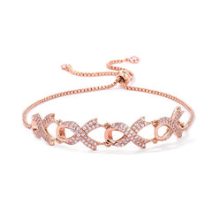 Rose Gold Plated Pink Ribbon Bracelet