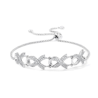 Rhodium Plated Pave CZ Ribbon Bracelet